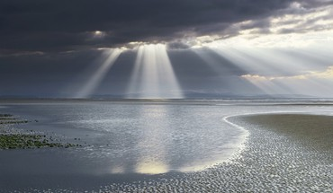 Water clouds landscapes sun rays beach HD wallpaper