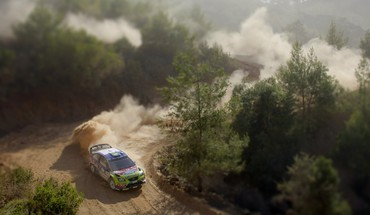 Rally racing ford focus wrc aerial view HD wallpaper