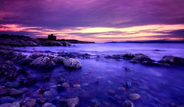 Purple Beach sunset  HD wallpaper