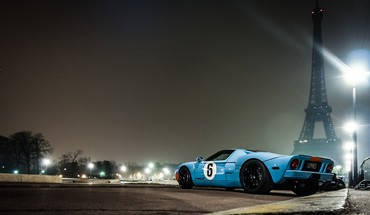 Eiffel tower paris ford gt gt40 low-angle shot HD wallpaper