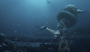 Liberty underwater apocalyptic photomanipulation global warming sea HD wallpaper