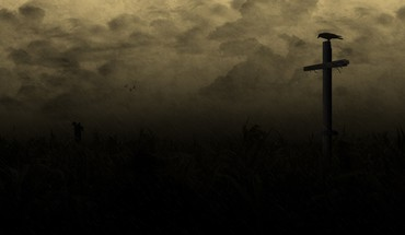 Raven country field creepy cross dark HD wallpaper