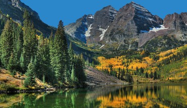 Colorado Maroon Bells im Herbst Wäldern Forum  HD wallpaper