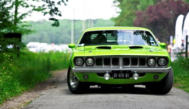 Green cars vehicles barracuda plymouth HD wallpaper