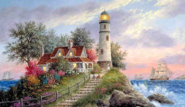 Trees tower houses lighthouses oceans artwork sea HD wallpaper