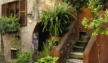 Architecture garden houses stairways plants window panes HD wallpaper
