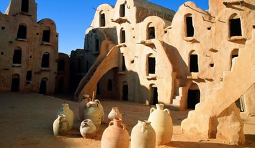 Ancient ruins with pots in tunisia HD wallpaper