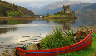 Mountains landscapes castles ruins boats scotland lakes HD wallpaper