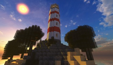 Beach trees world lighthouses minecraft skies HD wallpaper