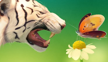 Tigers digital art artwork butterflies HD wallpaper