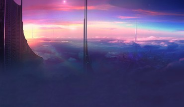 Futuristic ufo artwork city skyline cities HD wallpaper