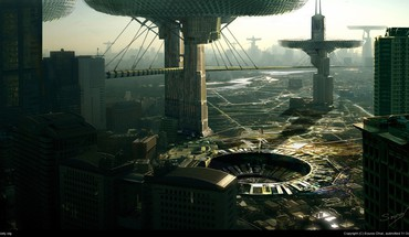 Futuristic industrial design city HD wallpaper