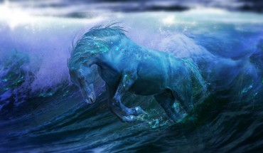 Fantasy chevaux de Fan Art d'illustration mer  HD wallpaper