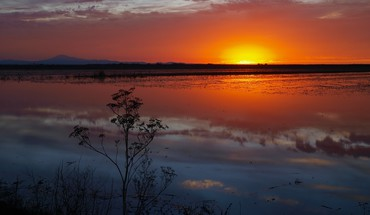 Amazing sunset over a marsh HD wallpaper