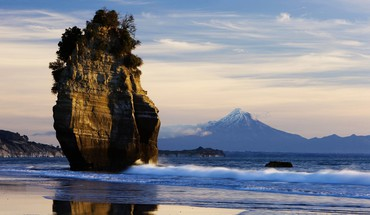 Mount new zealand taranaki beaches landscapes HD wallpaper