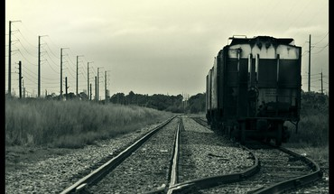 Black and white trains HD wallpaper