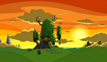 Cartoon network sunset nature houses adventure time HD wallpaper