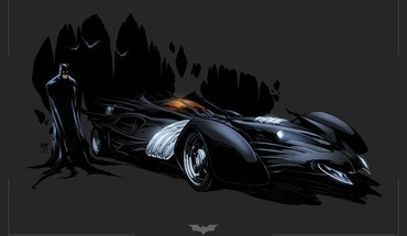 Betmenas iliustracijų Batmobile  HD wallpaper
