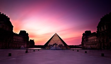 Sunset louvre museum HD wallpaper