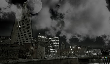Light clouds cityscapes moon HD wallpaper