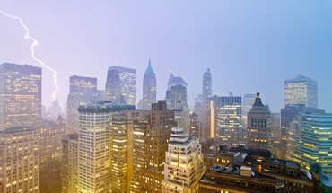 Cityscapes new york city skyscrapers lightning HD wallpaper
