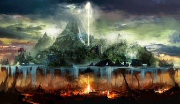 Trees fire hell rocks islands artwork lightning HD wallpaper