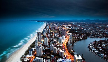 cityscapes Australija nakties Gold Coast  HD wallpaper