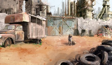 Deserts digital art dogs fantasy post apocalyptic HD wallpaper