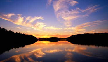 Clouds landscapes trees lakes reflections HD wallpaper