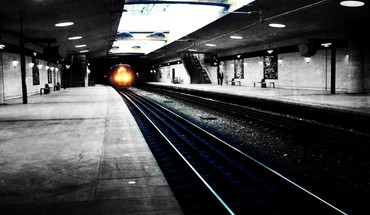 Black and white metro railroad tracks subway urban HD wallpaper