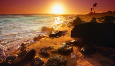 Beautiful sunset in hawaii HD wallpaper