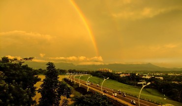 Clouds rainbows roads taiwan lakes roadsigns skyscapes evening HD wallpaper
