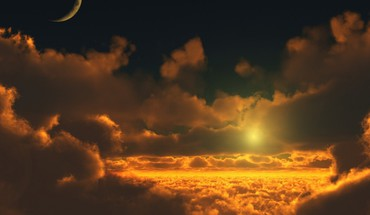 Moon clouds nature skyscapes sunset HD wallpaper