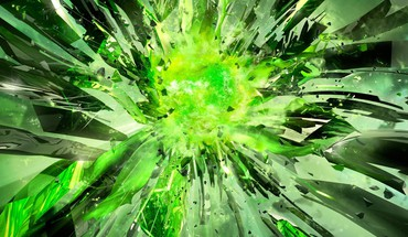 Nvidia explosions green multiscreen HD wallpaper