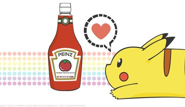 Pikachu pokemon ketchup love HD wallpaper