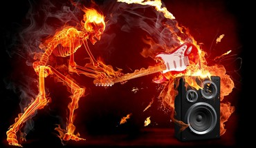 Music fire speakers skeletons guitars smash HD wallpaper