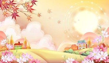 Sun artwork cartoons trees HD wallpaper