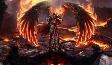 Fallen angel fire heroes inferno magic HD wallpaper