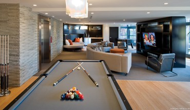 Billiards tables interior design HD wallpaper