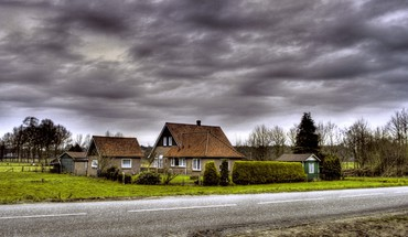 Hdr photography houses roads HD wallpaper