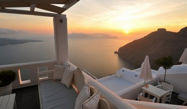 Sun relax santorini HD wallpaper