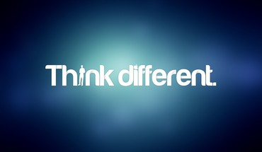Blue text think different typography HD wallpaper