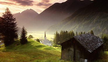 Alps austra austria fog landscapes HD wallpaper