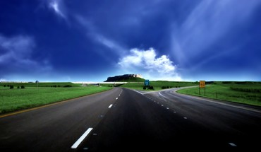 Blue clouds highways roads skyscapes HD wallpaper