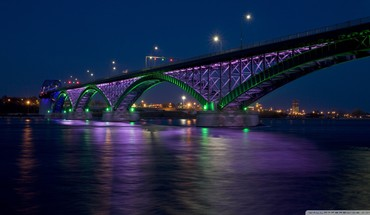 Peace bridge at night HD wallpaper