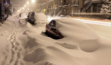 Montreal cars night snow streets HD wallpaper