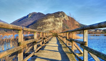 Fantastic wooden bridge hdr HD wallpaper