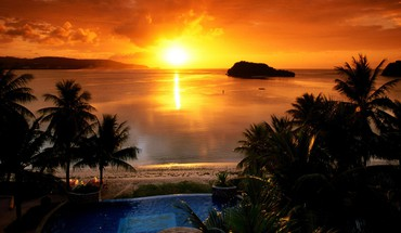 Beach resort sunset HD wallpaper