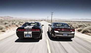 Dodge challenger charger cars rear view HD wallpaper