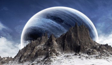 Fantasy art mountains outer space planets HD wallpaper